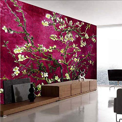 Pbbzl Red Van Gogh amandelbloesem schilderij behangrollen voor 3D muren behang voor 3 D woonkamer behang wandafbeeldingen 350 x 250 cm.