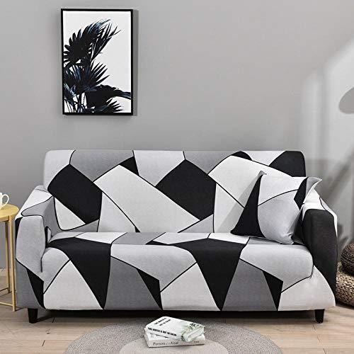 Funda de Sofá 1 Plazas Funda de Sofá Antideslizante con Diseño Elegante Universal Cuadrícula, Blanco Y Negro Funda Sofá Elástica Antideslizante Protector Cubierta de Muebles