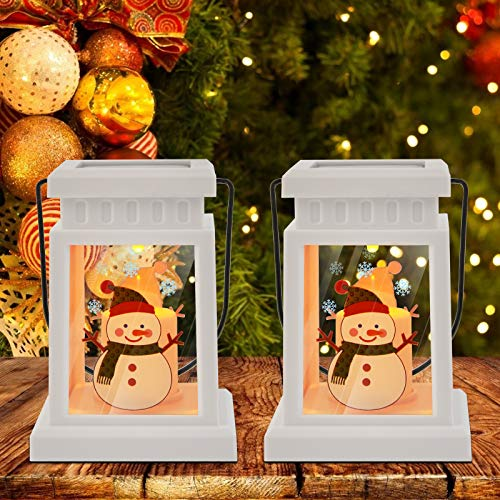 Christmas Solar Candle Lantern - 2 Pack Snowman Hanging Candle Holders Flickering Flameless LED Candle Lantern Decorative for Christmas Indoor Outdoor, Events, Party, Weddings (Snowman)