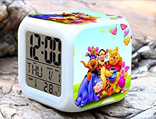 Cartoon Winnie The Pooh Digital LED 7 Changed Colorful Light Alarm Clocks Thermometer Night Electronic Kids Toys Best Gift for Children (Style 20)