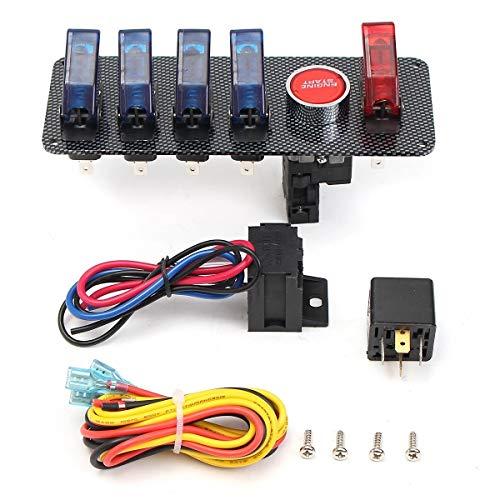 JLMOH Interruptor de Encendido, Panel Interruptor de Encendido del Coche de Carreras con 4 Azul + 1 LED Rojo Activar el Interruptor de botón 12V