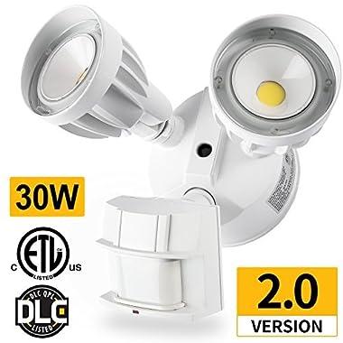 Amico 30W LED Security Light Motion Outdoor, Motion Sensor Light Outdoor, Dual-Head, 2500LM 5000K Waterproof IP65, ETL Flood Lights