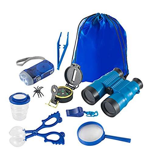 AOYMJRS Kit Explorer para niños, Kit Explorer 9 en 1 para niños de 3 a 12 años Niños Niñas Niños con binoculares Brújula Lupa Antorcha Pinzas Silbato Colector de Insectos (Azul)