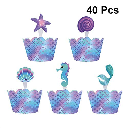 XCVB Cupcake Wrapper Tafeldecoratie Gunst 40st Kleine Zeemeermin Feestartikelen Taartdecoratie Topper Rand Inserts Card Muffin