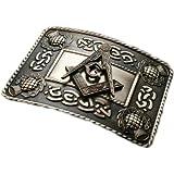 Glen Esk - Hebilla cinturón - Diseño celta con cardo - Acabado antiguo - Símbolo masónico acoplado