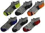 Fruit of the Loom Boys' Big Everyday Active Low Cut Tab Socks-6 Pair Pack, gray, orange, red, green, blue,...