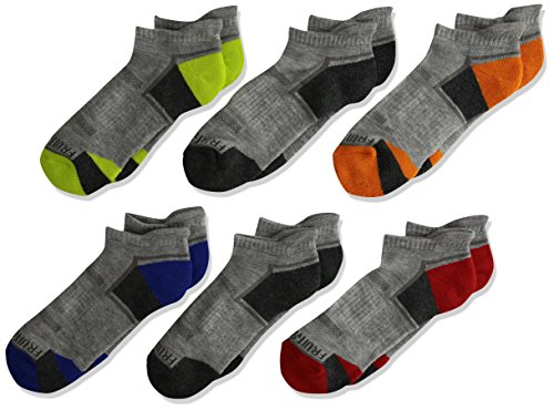 Fruit of the Loom Boys' Big Everyday Active Low Cut Tab Socks-6 Pair Pack, gray, orange, red, green, blue, Shoe Size: 9-2.5
