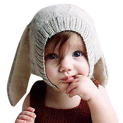 CHIC-Hiver Bébé Enfants Cagoule Bonnet Chaud Casquette Echarpe Capuche Chapeaux Lapin Déguisement (Gris, 0-1 Ans)