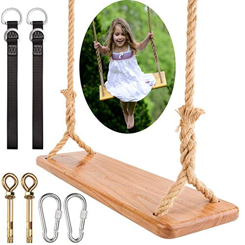 NUB Swing Seat Hanging Outdoor Wood Swing Chair Wooden Garden Swing Seat for Adults Kids Weight Up To 150KG