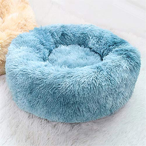 Blivener Plush Donut Pet Bed Deluxe Pet Bed for Cats and Dogs Warm Cuddler Kennel Soft Puppy Sofa Cat Cushion Bed Sleeping Bag F Blue 60cm in diameter