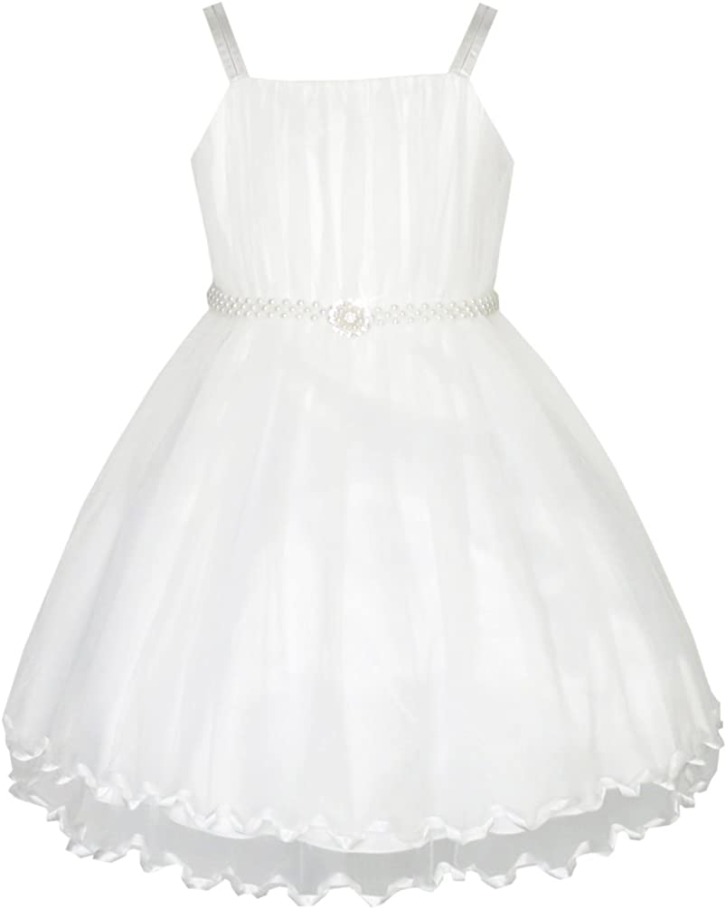 Sunny Fashion Flower Girls Dress Pearl Belt Pageant Wedding Party Size 3-14