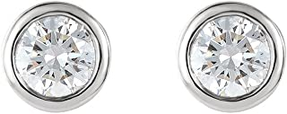 1 pairs, Inverness 4 mm Crystal Piercing Bezel Earrings,Sterile Hypoallergenic for Sensitive Ears