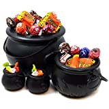 """JOYIN Black Cauldron with Handle 8"""" for St. Patrick's Day Party Favors Decorations, Halloween Parties Candy Bucket, Candy Kettle and Pot of Gold Cauldron (Pack of 4)"""