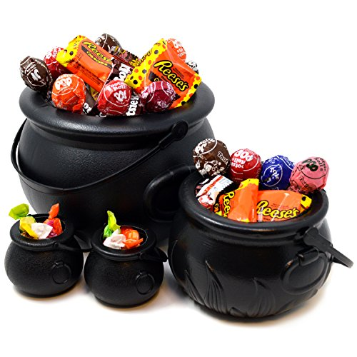 "JOYIN Black Cauldron with Handle 8"" for Halloween Party Favors Decorations, Halloween Parties Candy Bucket, Candy Kettle and Pot of Gold Cauldron (Pack of 4)"