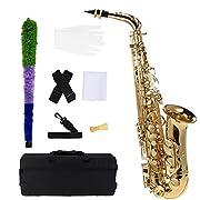 ammoon bE Alto Saxphone Laiton Laqué Or E Flat Sax 802 Touches Type d'instrument à Vent avec Brosse de Nettoyage Tissu Gants Cork Grease Padded Case Sangle