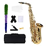 Andoer bE Alto Saxophone Brass Lacquered Gold E Flat Sax 802 Key Type Woodwind Instrument with Cleaning Brush...