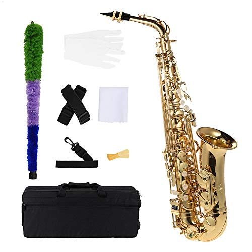 ammoon bE Alto Saxphone Brass Lacquered Gold E Flat Sax 802 Key Type Woodwind Instrument with Cleaning Brush Cloth Gloves Strap Padded Case, Brass Sax