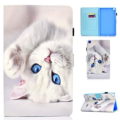 Lspcase Hülle für Galaxy Tab A 8 Zoll 2019 Schutzhülle PU Leder Brieftasche Flip Tasche Hülle mit Kartenschlitz & Stifthalter für Samsung Galaxy tab A 8.0 SM-T290 SM-T295 Weiße Katze