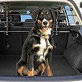 Dekolona  Auto Hundegitter - Mit gratis Transporttasche - Optimaler Halt Dank Teleskopstangen - Kinderleichte Montage ohne Werkzeug - Universal Kofferraum Trenngitter für Hunde