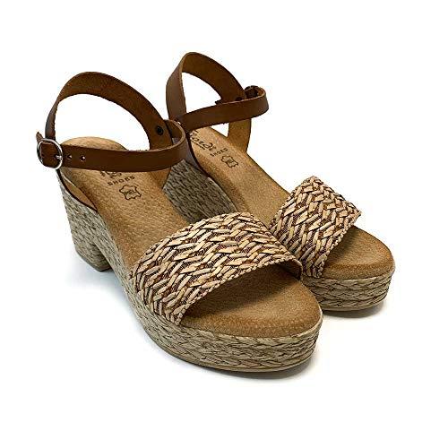 ZAPATISIMOS - Mules Mujer Sandalias de Vestir Punta Abierta de Piel Plantilla de Gel Sandalia con Plataforma Cierre de Hebilla Primavera Verano