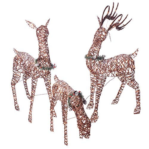 """Christmas Reindeer Family 3 piece Set   Pre-lit Rattan Holiday Deer Includes 52"""" Buck, 44"""" Doe and 28"""" Fawn   Lighted Reindeer Christmas Décor for Indoor or Outdoor   Yard Art Holiday Reindeer"""