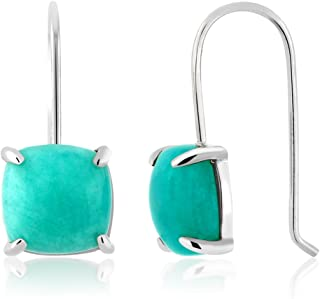 925 Sterling Silver Amazonite Earrings 8.75 Ct Cabochon Square Cut 10MM