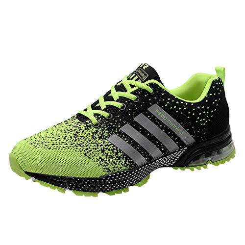 Skxinn Unisex Sneakers Fitnessschuhe Leicht Schnürschuhe Atmungsaktive Casual Herren Mode Turnschuhe Sportliche Basketball-Laufschuhe Wanderschuhe für Damen Gr 35-47(Grün,44 EU)