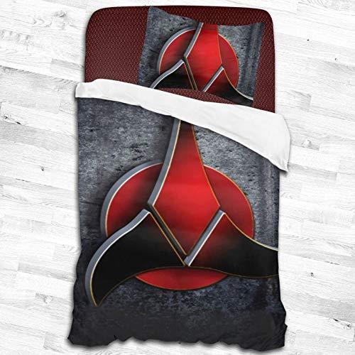ESCFLAG Star Trek zweiteilige luxuriöse und bequeme Bettwäsche, weiche Mikrofaser, 1 Bettbezug + 1 Kissenbezug (zwei Größen) 139,7 x 210,8 cm