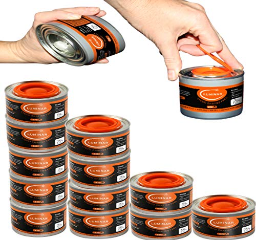 Chafing Fuel Cans - Food Warming Wick Candle Burners for Buffet Dishes (12, 6 HOUR)