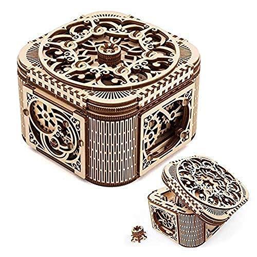 YYQLLXH Cajas del tesoro creativas de madera con llaves, pequeños accesorios y cajas de almacenamiento de joyas, regalos para cumpleaños de bodas de mujeres y regalos para el Día de la Madre.
