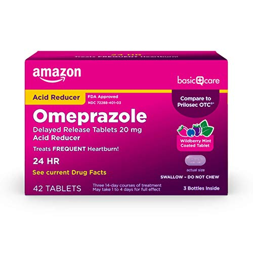 Amazon Basic Care Omeprazole Delayed Release Tablets 20 mg, Purple, Wild Berry Mint Flavor, 42 Count