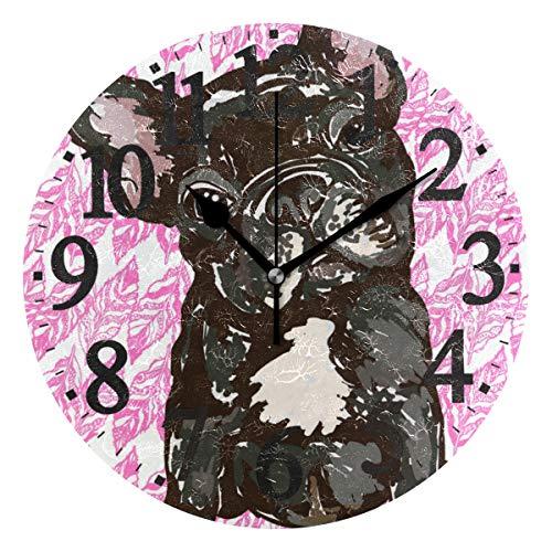 Ahomy Wanduhr Welpe Französische Bulldogge Blatt rund Uhr Nicht tickend leise Home Küche Büro Schule Uhr 25 x 25 x 0,5 cm