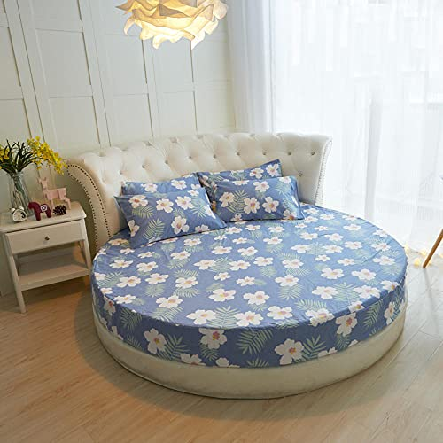 DSman Protector de colchón/Cubre colchón Acolchado, Ajustable y antiácaros. Sábana de Cama Redonda de algodón de Color Puro -16_2.2m