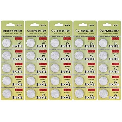 25 pack cr2016 batteria 3v litio cr2016