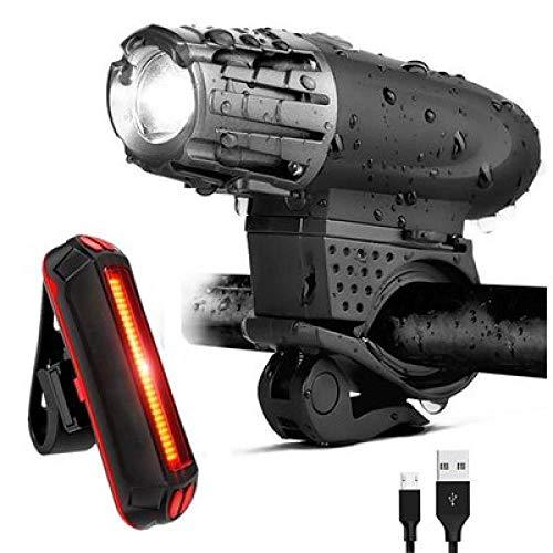 LED Fahrrad Licht Mountainbike Fahrrad Lampenset Wiederaufladbar über USB Einfache Installation Abnehmbare Regenschutz Fahrrad Nachtlichter-Fahrradlicht