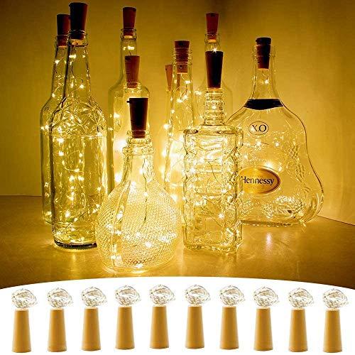 Luces de Botella de Vino Cobre con Corcho, 10 Pcs 1m 10 LED Guirnaldas Luces Luces Alambre de Cobre Luz de Botella para Boda, Navidad, Fiesta, Hogar, Exterior, Jardín (Blanco Cálido)