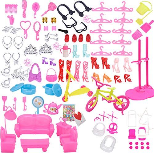ZJL220 94 piezas de muebles para muñecas, juego de rol, juguetes para sofá, zapatos, joyas para muñeca Brabie Kelly muñeca accesorio para el hogar niña regalo