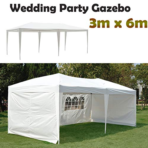 AutoBaBa 3x6m For Outdoor Wedding Garden Party Gazebo White Waterproof Gazebo with 4 Side Panels, 120g