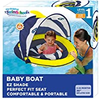 SwimSchool Deluxe Infant Baby Pool Float with Splash & Play Activity Center, Adjustable Sun Canopy (Navy/White)