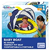 SwimSchool Deluxe Infant Baby Pool Float with Splash & Play Activity Center, Adjustable Sun Canopy, Perfect-Fit Safety Seat, Infant Baby Floatie, 6 - 24 Months, Navy/White