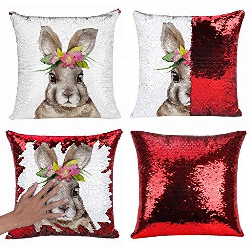 Yookstar - Funda de cojín con diseño de conejos, 45 x 45 cm, color rojo