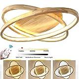 64W Holz 2-Ring LED-Deckenleuchte, Ø70cm Runde Dimmbar Deckenlampe mit Fernbedienung Modern Dekor Wohnzimmer-Lampe, Ultradünne Schlafzimmer Deckenlicht, Acryl-Schirm Decke Licht Holzlampe