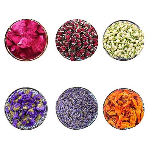 CoolCrafts 6 Beutel Getrocknete Blumen Knospen Blütenblätter für die Seifenherstellung Kerzenherstellung