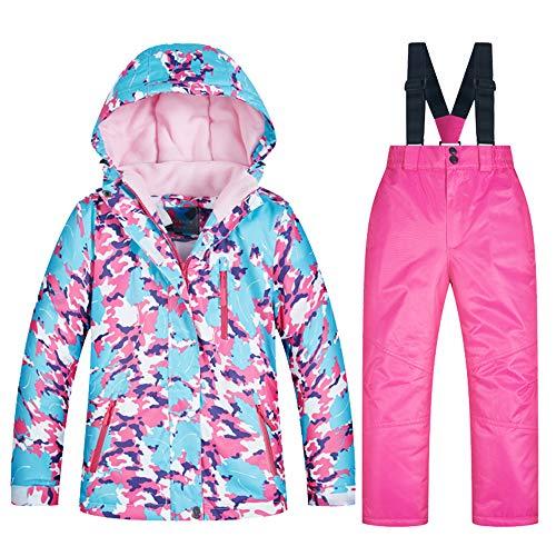 YFPICO Kinder-Skijacke und Hosen-Set,Kinder Skianzug Mädchen Integrierter Schneefang Fleece gefüttert,für Snowboarden im Winter, 4+Rosa, 98(Etikettengröße:8)