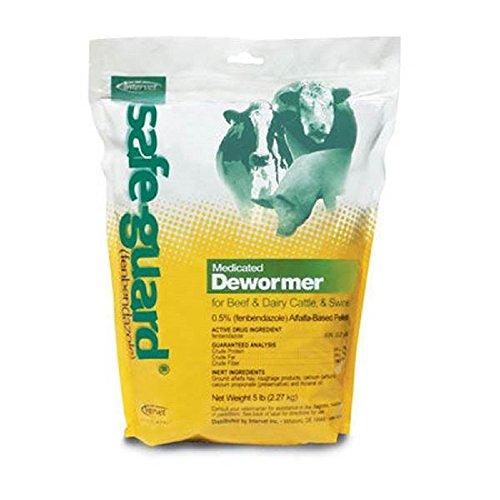 Merck Safe-Guard Dewormer - Tasty alfalfa-flavored pellets - for Beef & Dairy, Swine & Cattle - 5 lb