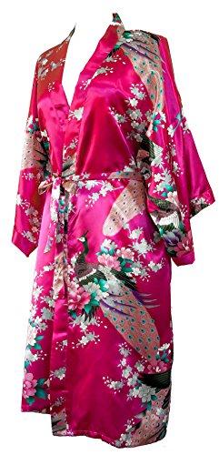 Kimono de CC Collections 16 Colores Shipping Bata de Vestir túnica lencería Ropa de Noche Prenda Despedida de Soltera (Rosa Fucsia)