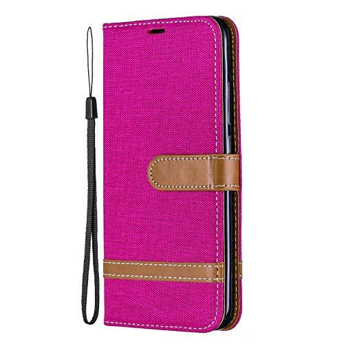 Hülle für Xiaomi Redmi 7 Hülle Leder,[Kartenfach & Standfunktion] Flip Case Lederhülle Schutzhülle für Xiaomi Redmi 7 - EYBF031258 Rosa Rot