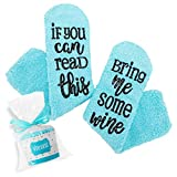 Sunsetbaby Gift Wine Socks'If You Can Read This' Funny Novelty Luxury Socks - Wine Lovers Gifts for Women Under 25 Dollars (cyan)
