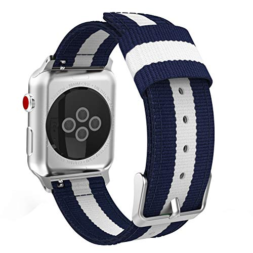 MaKTech Nylon Tejido Raya iWatch Correa Compatible con Apple Watch Serie 5/4/3/2/1 (44/42mm,Azul/Blanco)