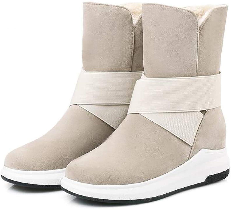 Winter Women Snow Boot Plush Insole Waterproof Matte PU Thicken Cotton Boots,Beige,35